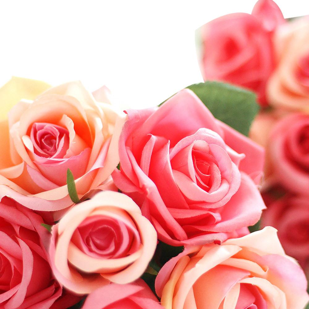 Lovely PET 9 cabezas artificiales de seda falso flores hoja Rosa ...