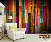 Custom modern 3d wallpaper mural vintage color wooden ...