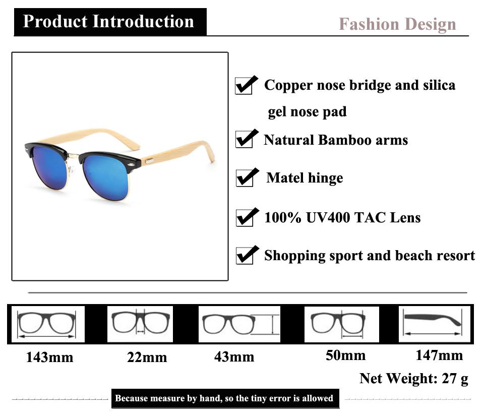 2dafae685a Vintage Round Bamboo Sunglasses Women Men Brand Designer Sun Glasses with  Wrap and Metal Bridge UV400 Mirror Gafas De Sol Mujer