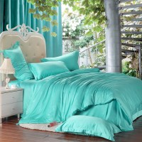 Luxury solid turquoise blue green comforters bedding set ...