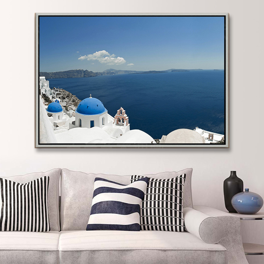 paintings for living room pics of sofas free shipping modern oil painting home deco wall hanging art santorini island decorative canvas prints cool decor olivia