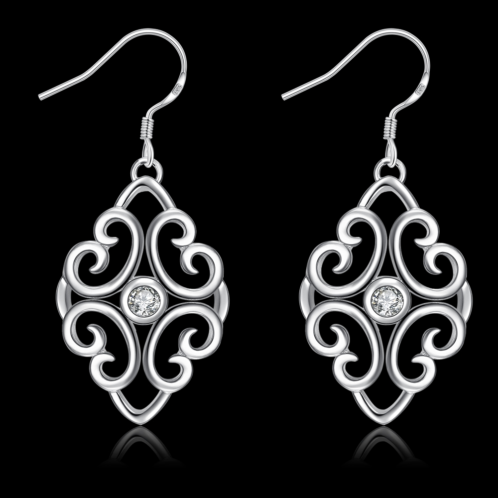 E006 925 Sterling Silver Double Hollow Rhombic With Stone Of Drop