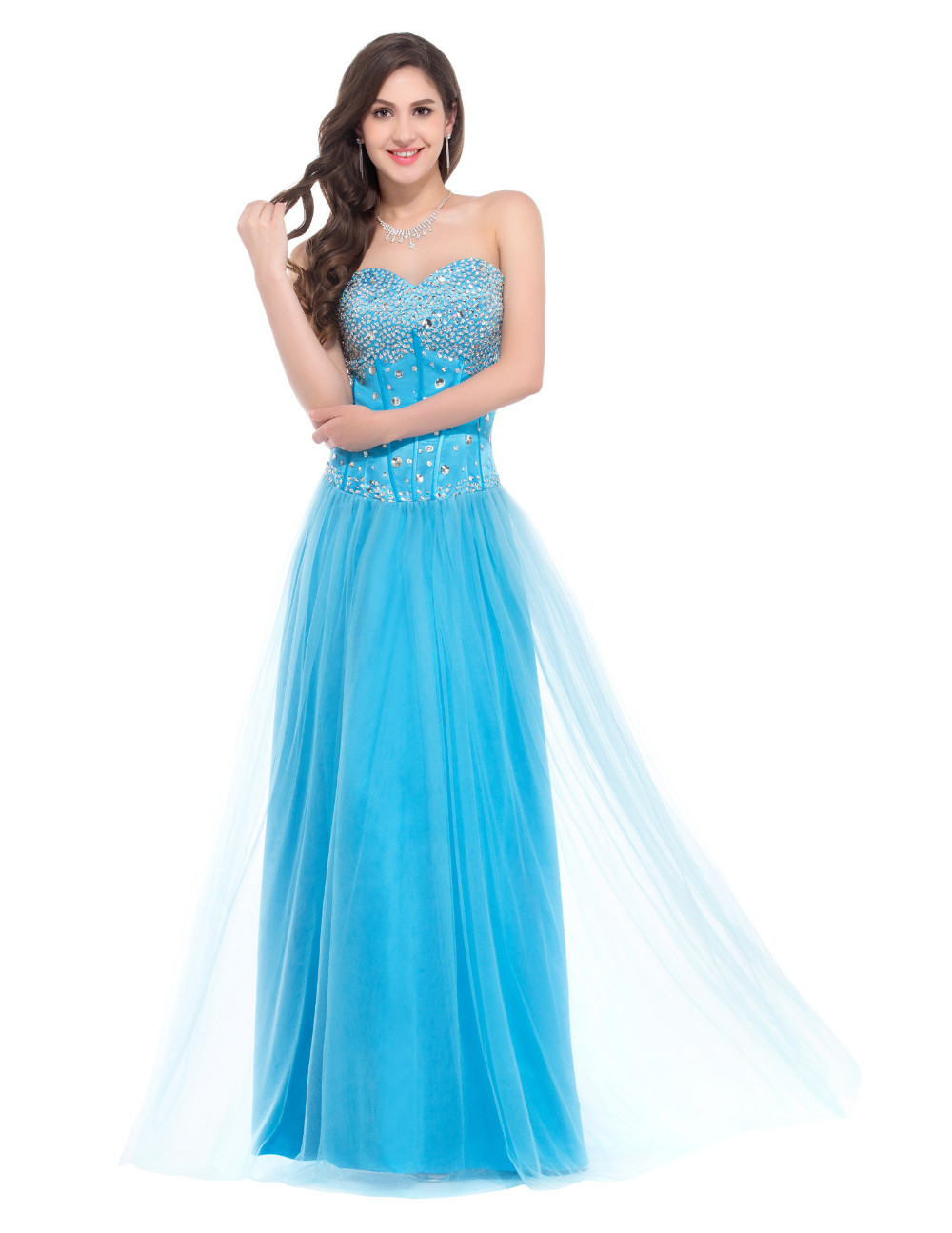≧Long Evening Dresses 2018 Grace Karin White Blue Pink Women Corset ...