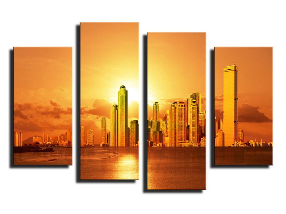 ᓂ4 panel hermosa ciudad con Sunset imagen grande moderna decoración ...
