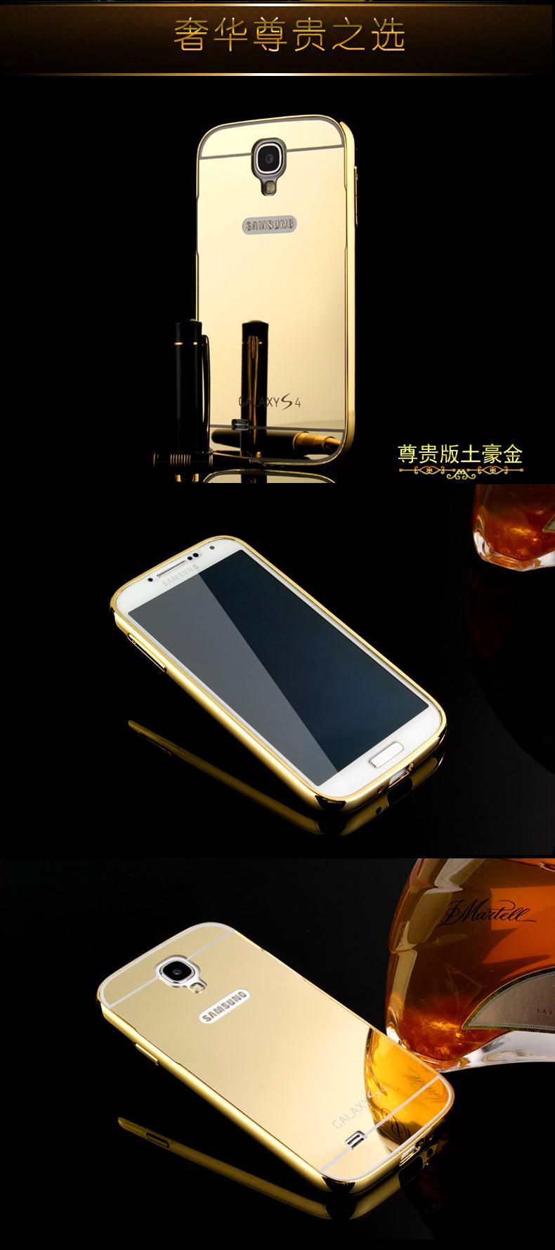 מראה אלומיניום מקרה טלפון סלים אקריליק חזרה כיסוי עבור Samsung Galaxy S4 אנטי-טוק יוקרה מסגרת מתכת Ultra עבור אנדרואיד סמסונג I9500