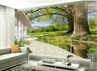 TV backdrop of nature landscape balcony 3d room wallpaper ...