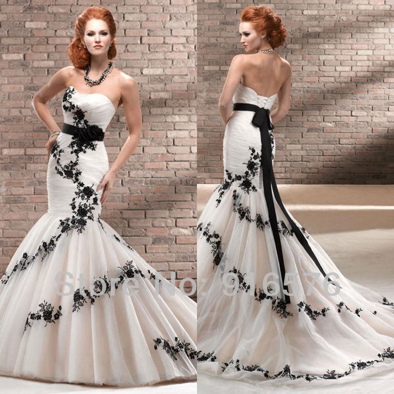 Enchanting Black And White Mermaid Wedding Dresses Sweetheart Low Back Lace Sash Corset Chapel