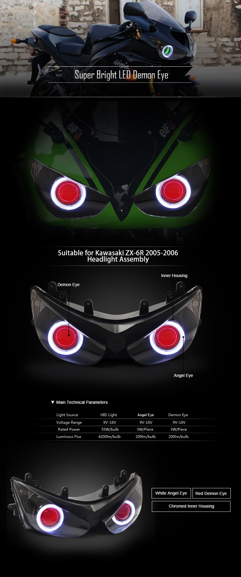 Kt Headlight For Kawasaki Ninja Zx6r Zx 6r 2005 2006 Led Angel Eye Wiring Diagram 1 X Relay Harness Connect To The Battery And Original High Low Beam Switch No Need Add Extra