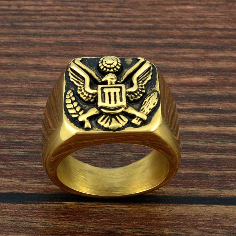 ᗕFaitheasy moda anillo de acero inoxidable militar de los Estados ...