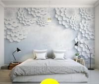 Custom Modern minimalist white 3D flower photo mural ...