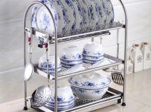 Desktop Stainless Steel Dish Rack Plates Drainer Drying ...