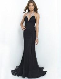 Black beaded long prom dresses 2015 cheap mermaid halter ...