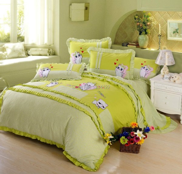 Good Quality Plant Lovely Cat Green Bedding Set Sets Home