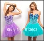 Blue and Purple Short Prom Dress