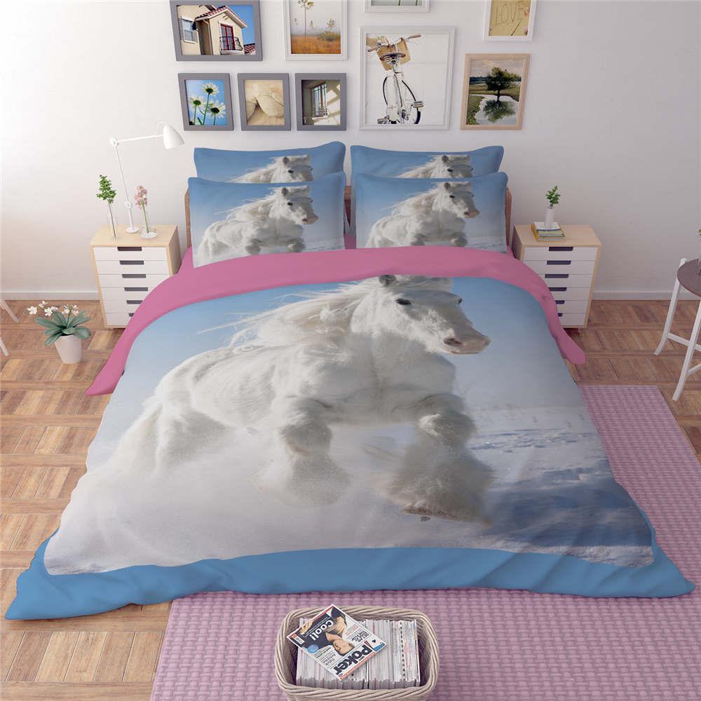 ヾ(^▽^)ノGalope de Caballos Blancos 3D Animal Impreso Juego de