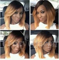 5A short bob full lace wigs Brazilian two tone color 1b/27 ...