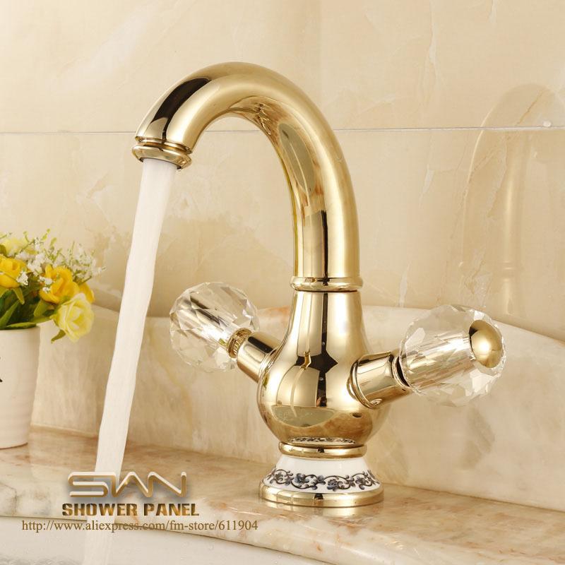 Aliexpresscom  Buy Gold Color Brass Bathroom Faucet Lavatory Vessel Sink Basin Faucets Mixer
