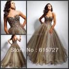 Sleek Sweetheart Beading Gold Ball Gown Girl Dress Custom