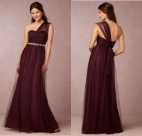 Elegant Appliques Dress One Shoulder Cheap Burgundy ...