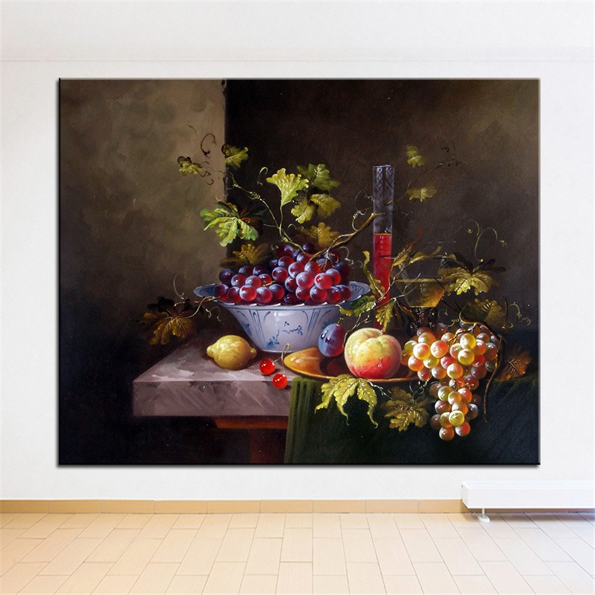 NO FRAME Home Printed White And Purple Grape STILL LIFE Oil Painting Canvas  Prints Wall Art Pictures For Living Room Decorations