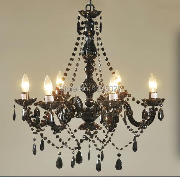 Art Deco Bunte Kronleuchter Mischfarbe/Rosa/Schwarz/Blau Wohnzimmer Candle  Lampen Luxus Acryl Kristall Kronleuchter 6L