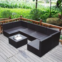 7PC Outdoor Patio Patio Sectional Furniture PE Wicker ...