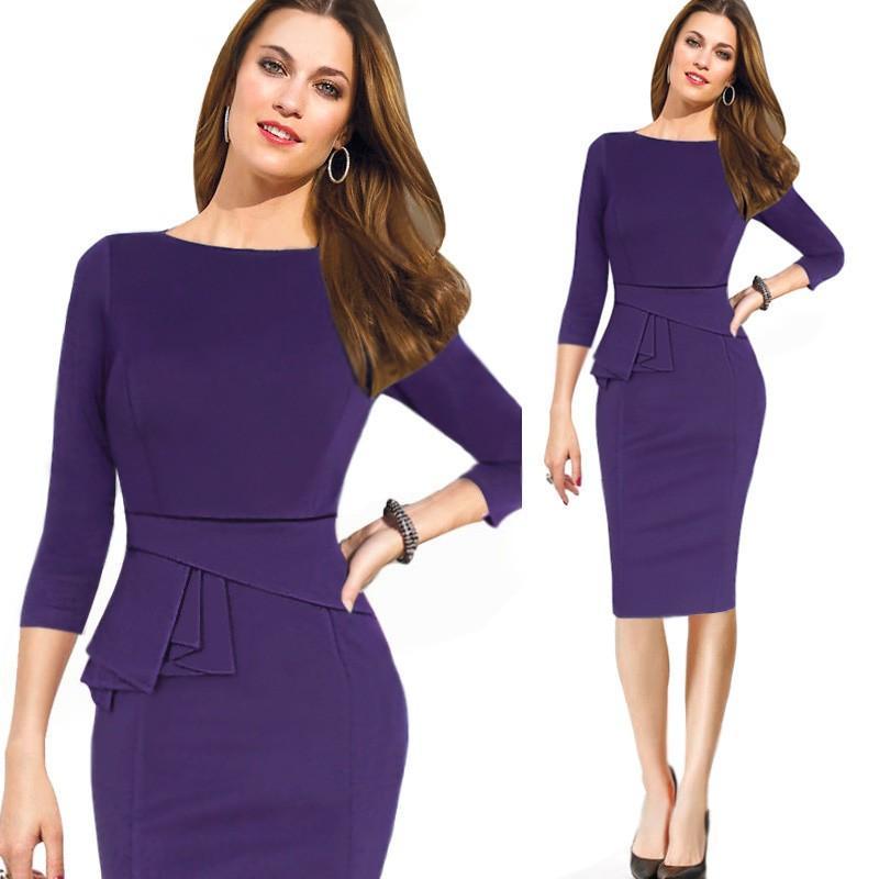 ᐊFmasuth mujeres otoño Vestidos 3/4 color sólido de la manga túnica ...