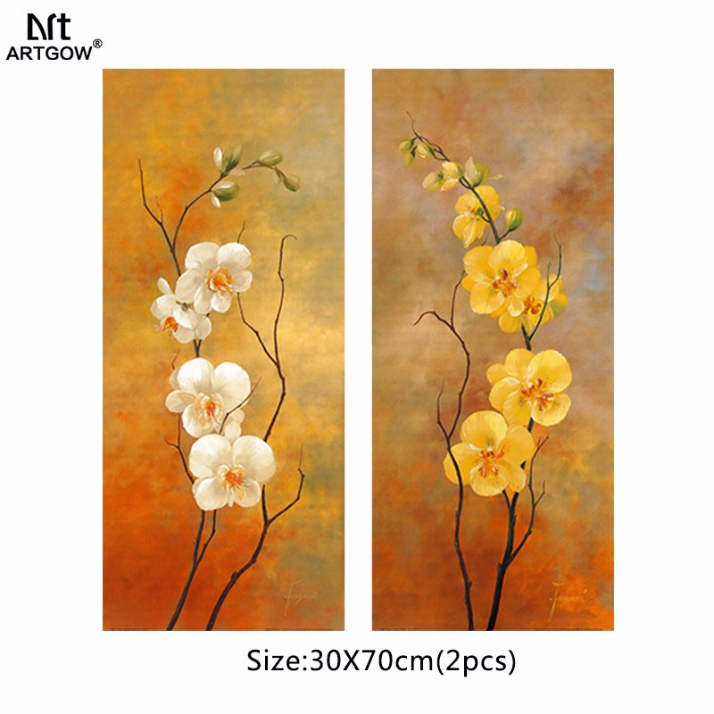 ⊱White Yellow Retro Flowers Picture Decoration Plum Canvas ...