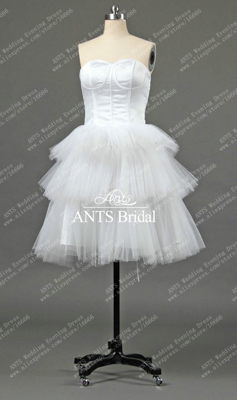 RW399 Real New Satin Tulle White Corset Short Bridal Dress Weddingin Wedding Dresses from
