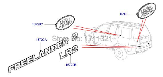 Car rear brand letter stickers silver color FREELANDER 2