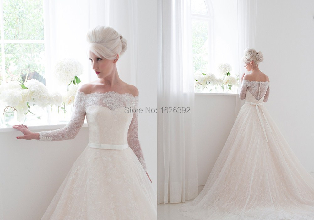 Light Pink Off The Shoulder Full Lace A Line Romantic