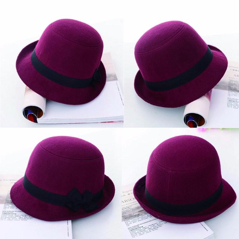 Hermosa mujer chica retro bowknot playa Fieltro lana sombreros ... 990a090a15d
