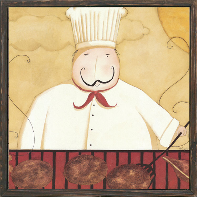 Vintage American chef kitchen entrance mural paintings framed ...
