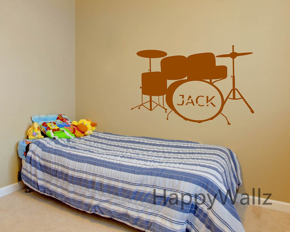 ୧ʕ ʔ୨Custom Name Drum Wall Stickers Drum Wall Decals Baby Nursery ...