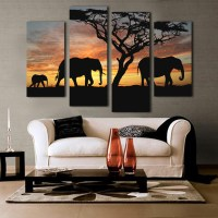 5 Ppcs Sunset Elephant Painting Canvas Wall Art Picture ...
