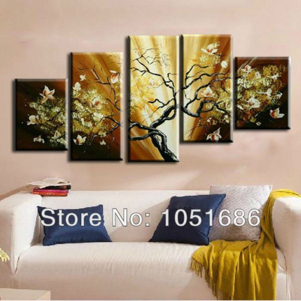 Hand Painted Cheap 5 Piece Wall Art Oil Painting Flower