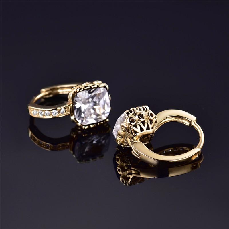 Budong мода квадратный камень золото-Цвет серьги бразильский пирсинг ... 924e9658af0