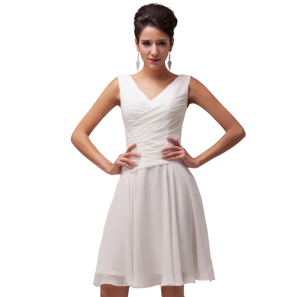▻Grace Karin White Short Evening Dresses 2018 Sexy V Neck Prom ...