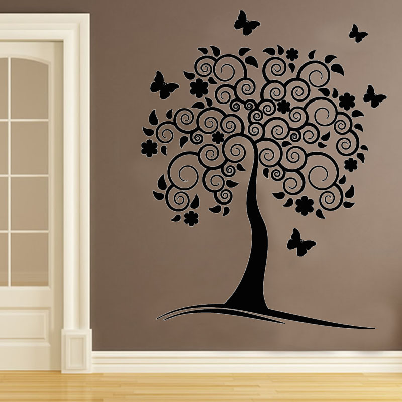 Vinyl Removable Wall Decals Swirl Flower Tree Wall Decor