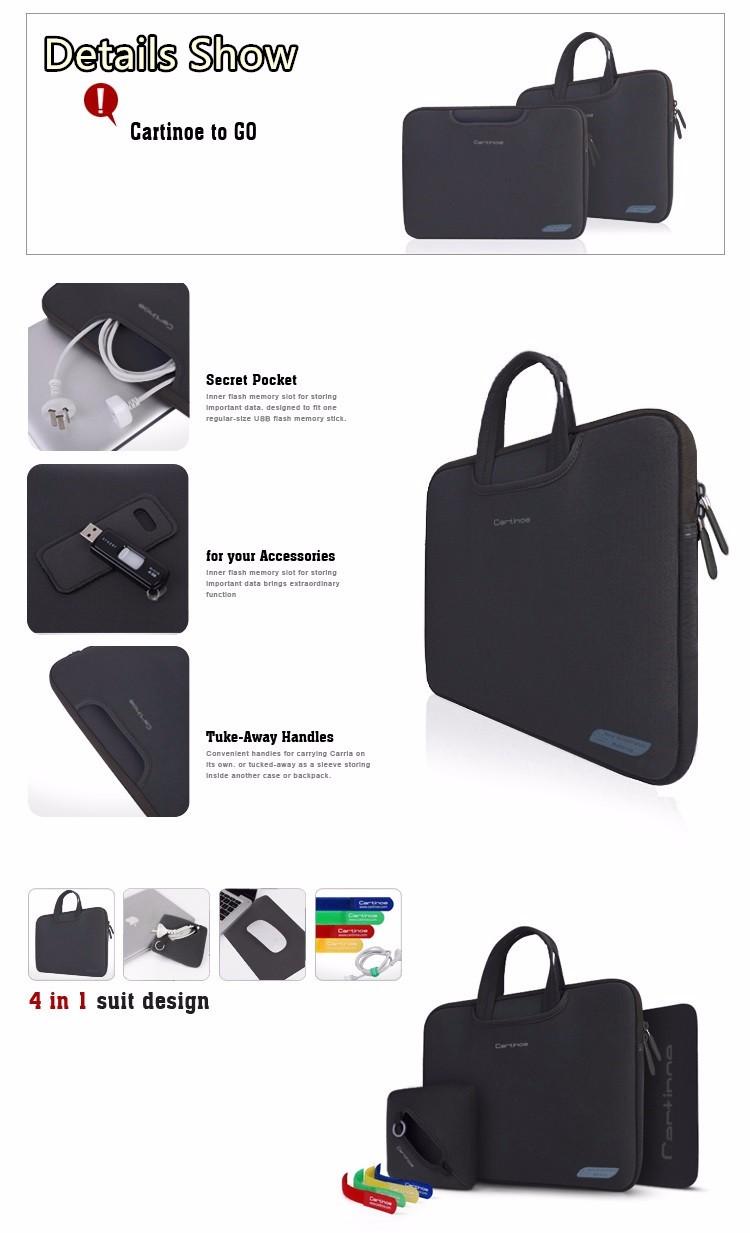 חם ניאופרן מותג Cartinoe מחשב נייד תיק שרוול מקרה עבור ה-MacBook Air, Pro 11,12,13,15 אינץ', 4 ב 1 החליפה תיק, חינם זרוק משלוח