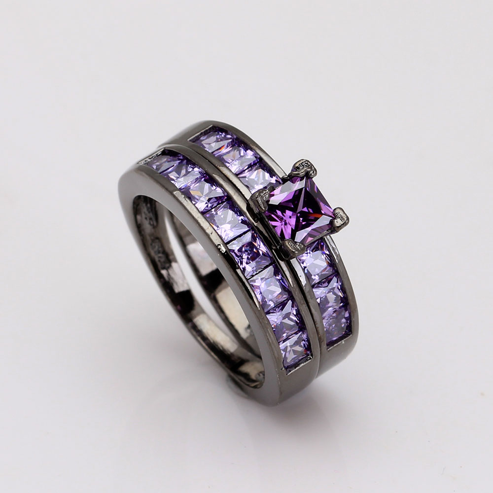 luxury purple black ring sets for women gift 2016 vintage