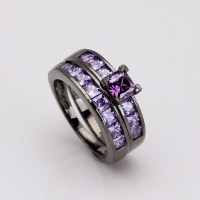 luxury purple black ring sets for women gift 2016 vintage ...