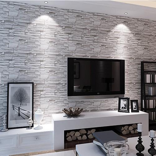 stein tapete wohnzimmer grau - boisholz - Wohnzimmer Steintapete