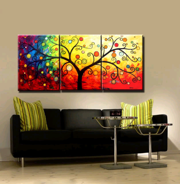 paintings for living room packages sydney new 3 piece canvas art hand painted modern abstract tree oil wall decoration home unique gift in painting calligraphy