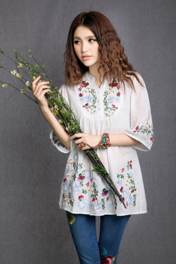 Vintage 70s Peasant Mexican Ethnic Floral Embroidered Boho