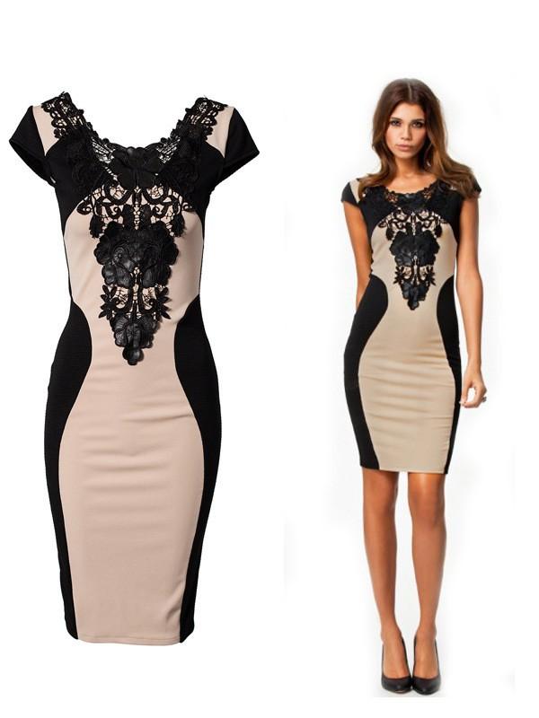 Mujeres Vestido corto retro negro applique patchwork verano sexy Encaje  señora bodycon del vestido vestidos de fiesta D18 4b1b356606c0