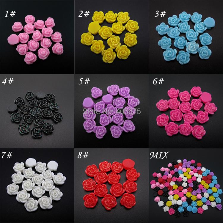 ⓪MNS335 New arrive glitter diy flatback nail resin flowers 8 colors ...