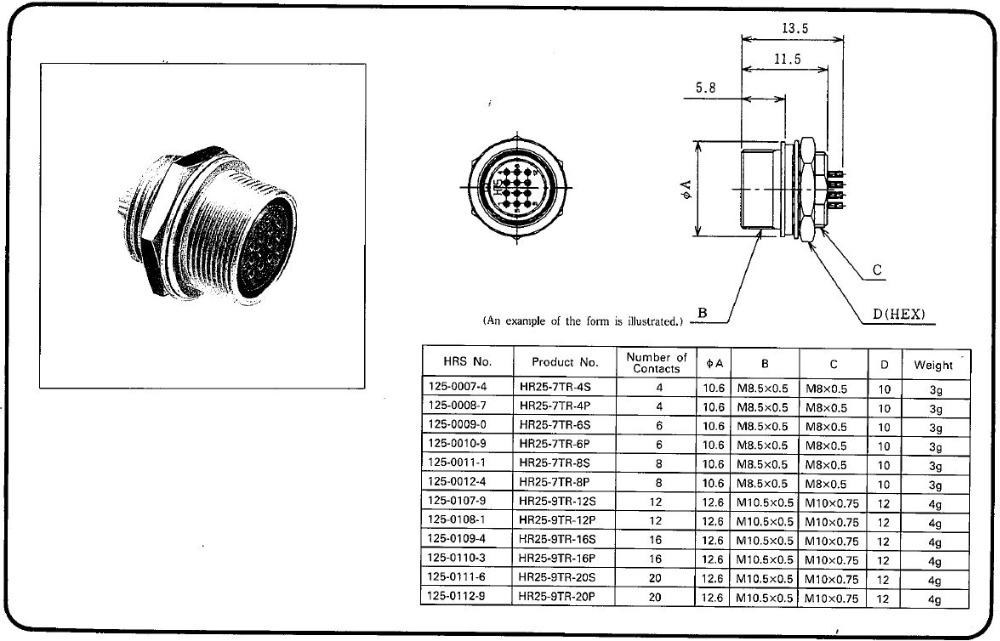 Hirose Waterproof Hr25 Military Communication Plug And