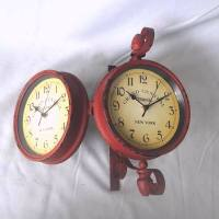 Vintage train station double sided clocks, View double ...