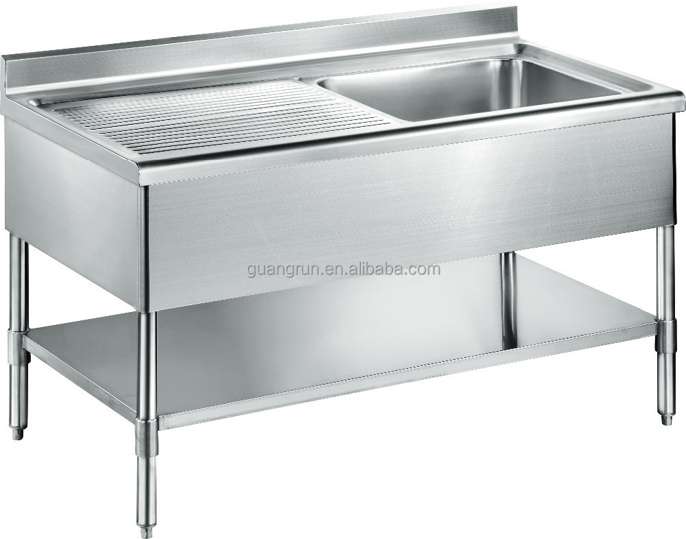 Freestanding Commercial Stainless Steel Kitchen Sink With